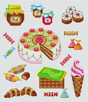 sweeties cross-stitch pattern, not sure on the croissant though?