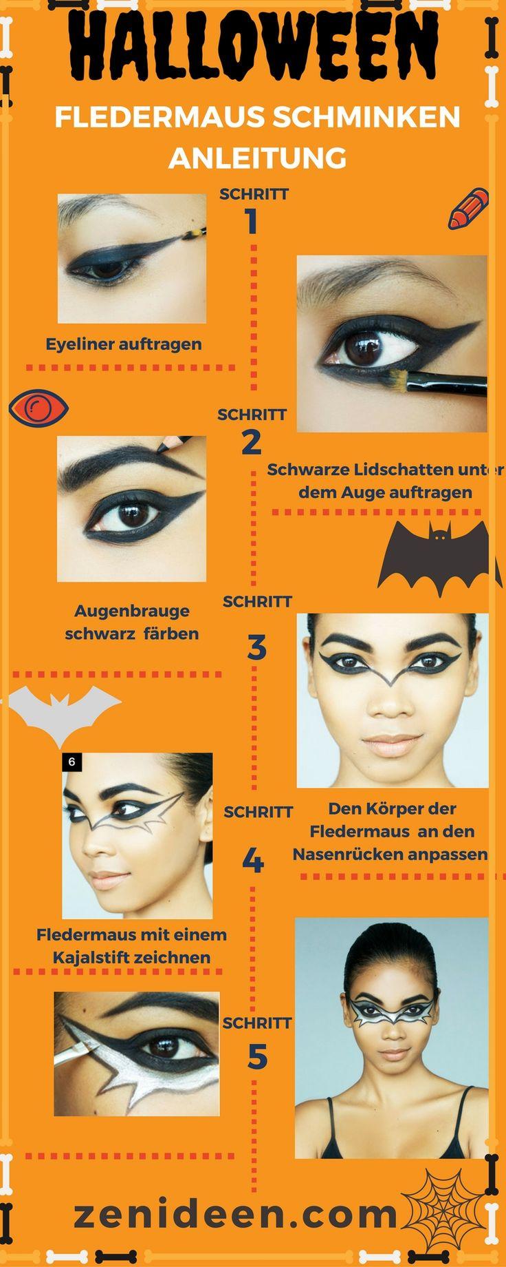 Fledermaus schminken Halloween Anleitung