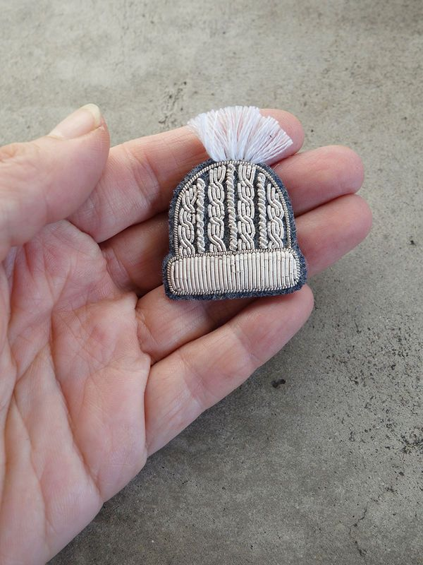 Hand Embroidered Ski Hat Brooch by Macon et Lesquoy