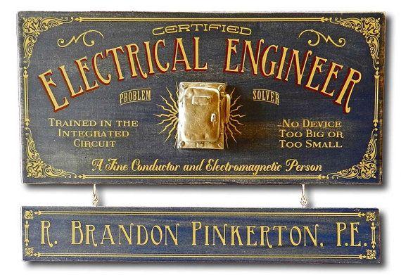 Electrical Engineer Vintage Plank Nameplate Sign by KandKSales