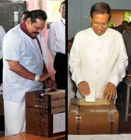 UPFA presidential candidate Mahinda Rajapaksa and NDF presidential candidate Maithripala Sirisena cast their votes at the respective polling stations in Medamulana and Polonnaruwa polling stations this morning.