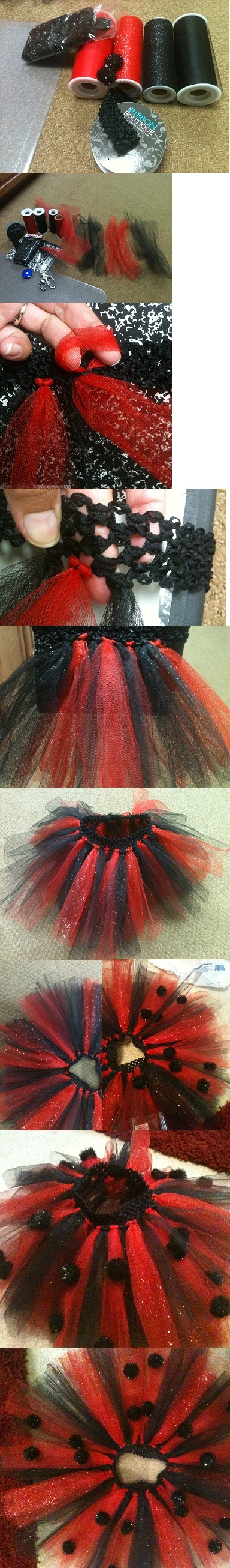 Lady Bug Tutu   http://theherberfamily.blogspot.com/2010/10/easy-tutu-tutorial.html