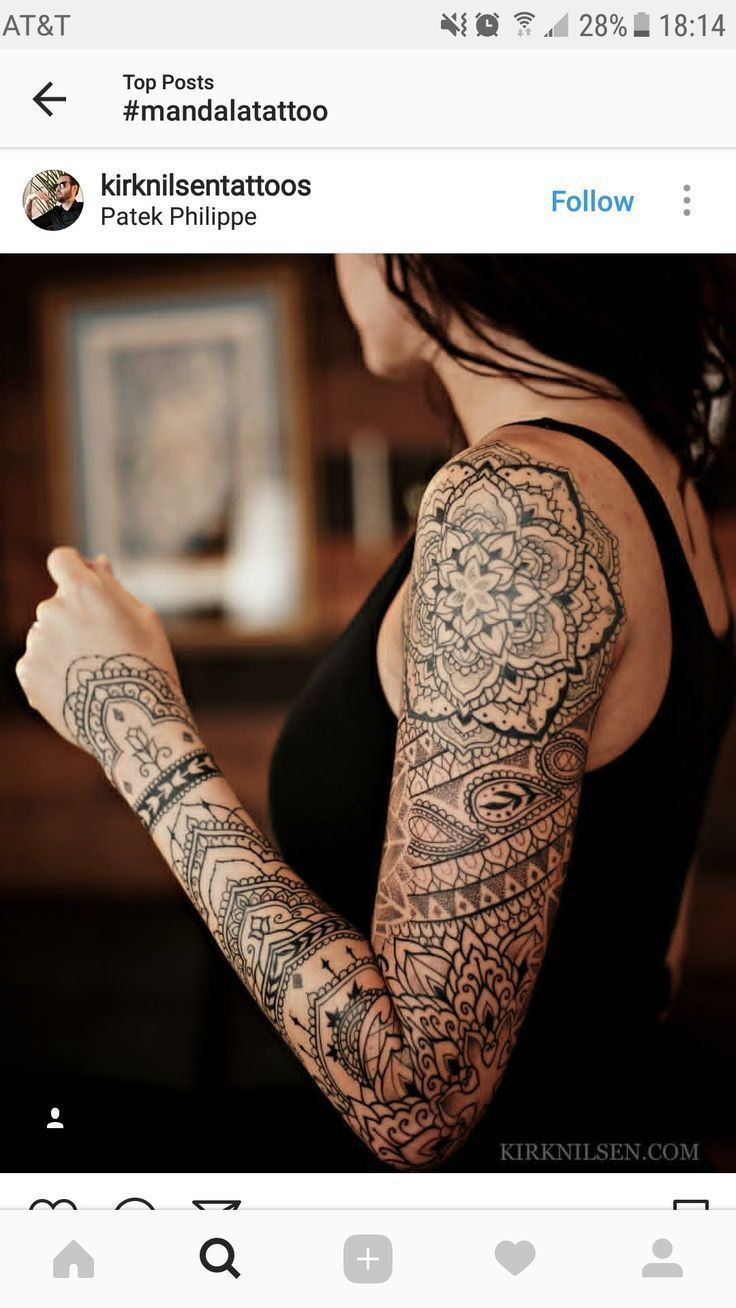 Tattoo oberarm frauen mandala