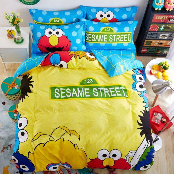simple sesame street print yellow sheets sets coverlets cotton linens twin/queen size duvet cover set 3/4pcs bedding sets #Affiliate