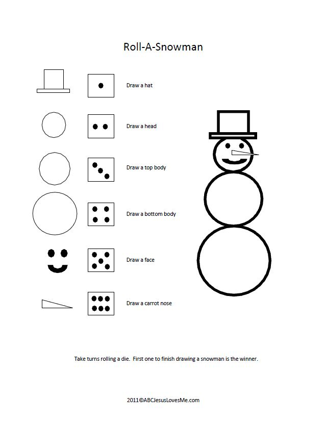 Movement Activity - Roll-A-Snowman Game: This fun game is perfect for a Winter Theme . It's Math Skills, Memory , Fine Motor  and best of all Children are Learning & Having FUN!!