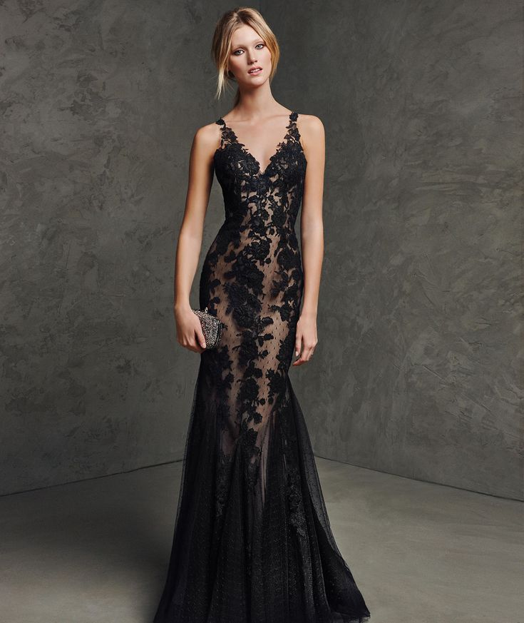 Backless V Neck Floor Length Black Lace Trumpet Mermaid Evening Dress Cpr0083