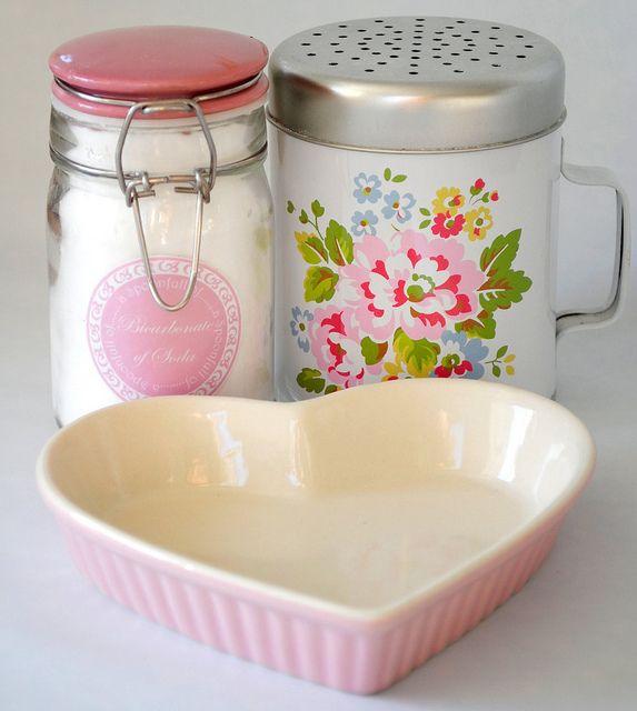 Pink Heart Creme Brulee Dish Floral Flour Shaker Vtg