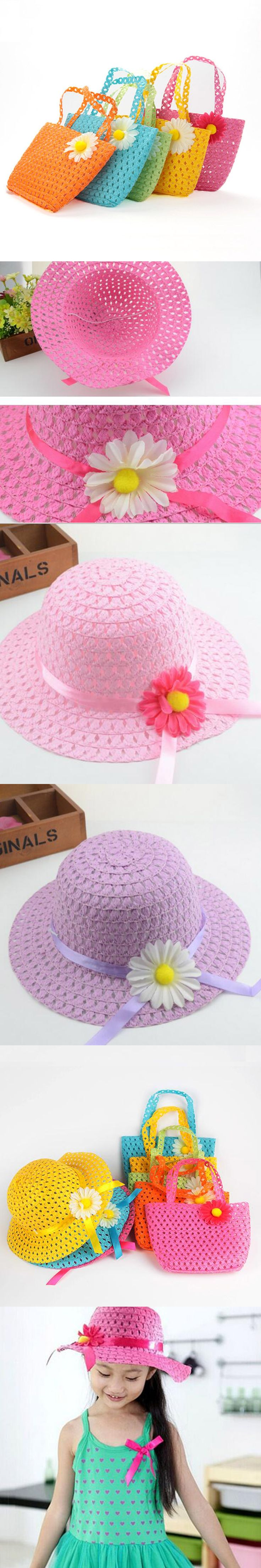 2017 Girls Beach Hats Bags Flower Straw Hat Cap Tote Handbag Bag Suit Children Summer Sun Hat 52 CM For 3-7 Years 9 Colors