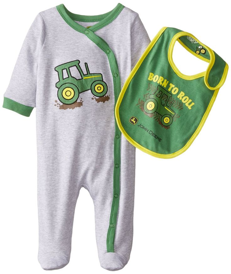 One piece sleeper with contrast trim has tractor embroidered on the front. Comes with reversible bib. 90% Cotton/10% Polyester Imported Machine Wash Classic John Deere for younger children Tagless Mad