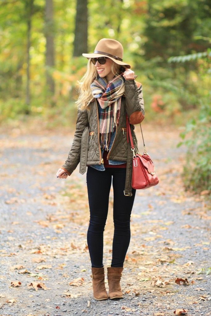 brown field jacket, suede elbow patches, camel wool felt panama hat, red green blue plaid blanket scarf, Zara blanket scarf, 7 for all mankind slim illusion jeans, brown suede ankle boots, red leather Coach crossbody bag