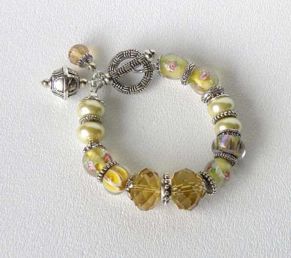 Buttercup Handmade Beaded Bracelet Yellow Pearls Lampwork Glass Beads Citrine Crystals on Etsy, $24.00