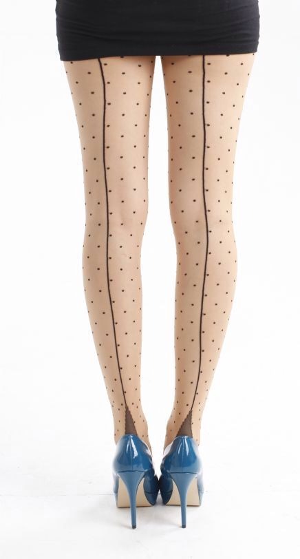 Fun & flirty jive seams with a playful polka dot! Buy on line now -->  http://www.claireabellascloset.co.uk/vintage/vintage-tights/product/102-pamela-mann-jive-seamed-dotty-tights