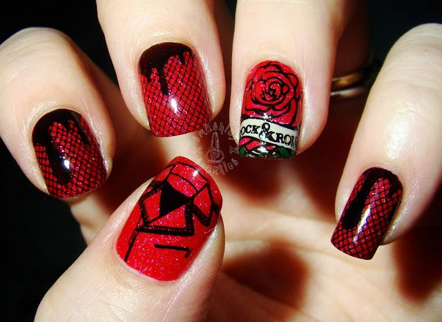 red and black rock n roll nail stamp art