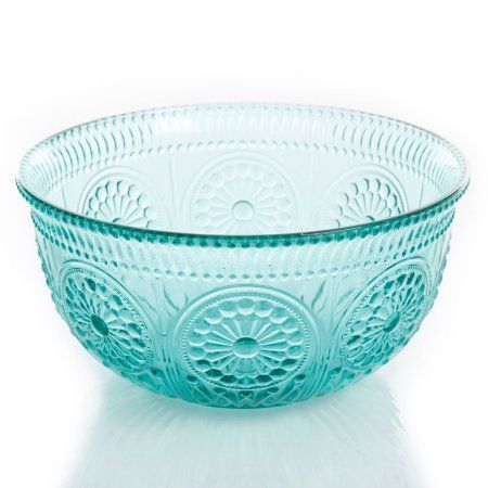 "I dropped my brown serving bowl this morning :( One of these would be awesome to replace it?    The Pioneer Woman Adeline 9"" Turquoise Glass Serving Bowl - Walmart.com"