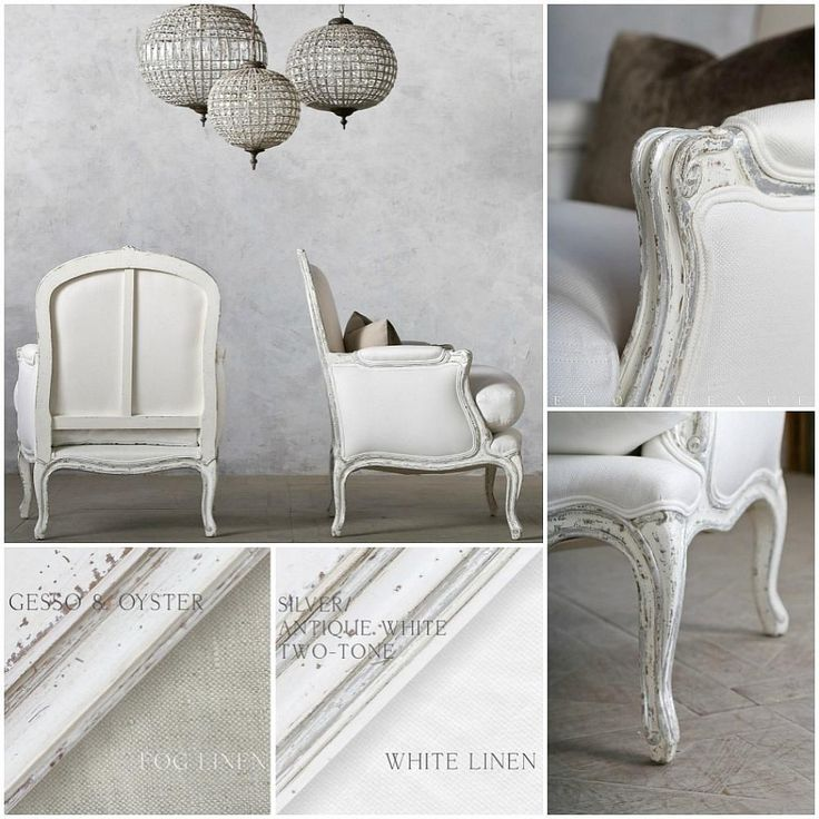 The Eloquence La Belle Bergere in Silver | Antique White Two-Tone finish has  lovely sinuous arms and legs, and a unique hand carved crest with floral details. Upholstered in White Linen, this is an elegant chair for any room in your home. Picture two in front of your fireplace, one nestled into a corner of your bedroom for reading, one in your office, another pair in your family room. Also available in Gesso | Oyster. Price is for one chair. 37H x 29W x 26D {Seat Height: