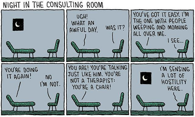 282. Therapy by tom gauld, via Flickr: Psychology Jokes, Consultant Rooms, Toms Gauld, Cartoon, Chairs, Therapy Humor, Funny, Psychology Humor, Psych Humor