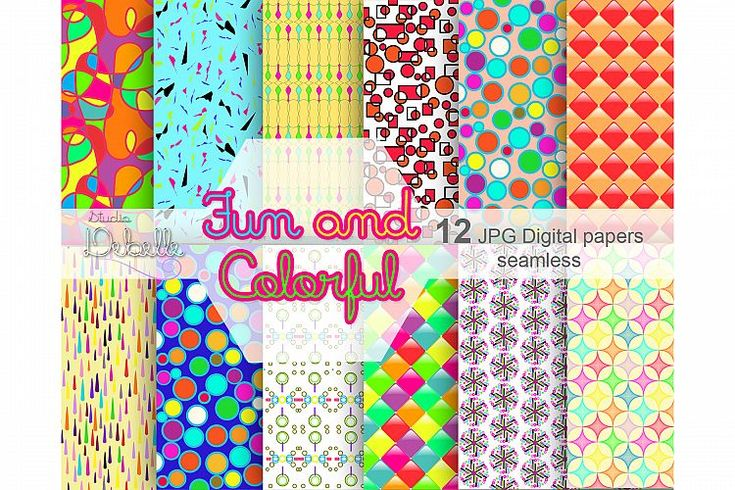 Fun and Colorful - 12 Digital papers seamless patterns by Studio Debelle