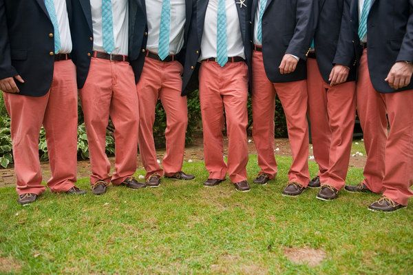 Hahah, why didn't you dress the guys like this?????   Coral groomsmen pants with turquoise ties