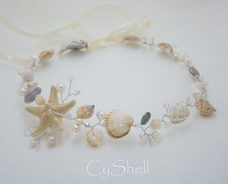 Beach Bridal Tiara,Wedding SeaShell Headpiece,Bridal Starfish Crown,Wedding Accessories,Mermaid Hair,Flower Crown handmade by CyShell by CyShell on Etsy