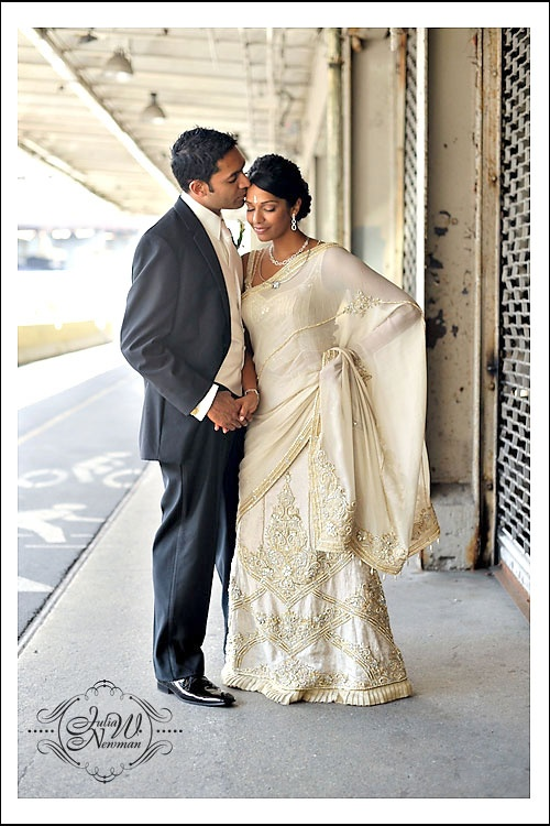 Lengha-style sari- lengha, blouse and stole draped to look like a sari.  Just Beautiful!