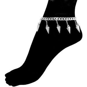 Anklet with Spike Charms, In Silver Tone . $12.99