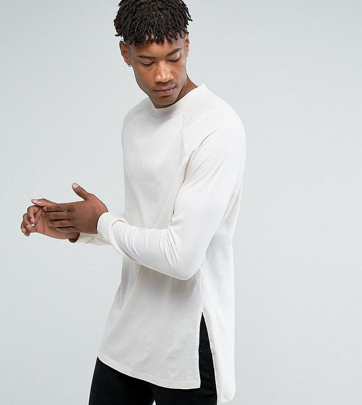 ASOS TALL Oversized Long Sleeve T-Shirt With Side Splits And Cuffs In