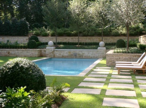 Grass with pavers around pool for the home pinterest for Back garden swimming pool