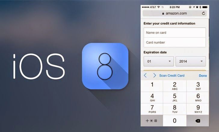 Apple's iOS 8 Safari Web Browser Can Read Your Credit Card Details Using Device Camera with 'Scan Credit Card' feature.