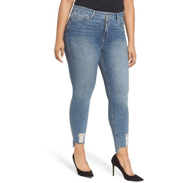 Women's Good American Good Legs High Waist Skinny Jeans (£95) ❤ liked on Polyvore featuring jeans, american jeans, high waisted skinny jeans, blue jeans, skinny fit denim jeans and high-waisted jeans