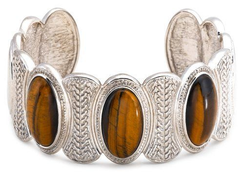 Sterling Silver Tiger Eye Cuff Bracelet Amazon Curated Collection. $160.00. The natural properties and composition of mined gemstones define the unique beauty of each piece. The image may show slight differences to the actual stone in color and texture. Made in China. Gemstones may have been treated to improve their appearance or durability and may require special care.