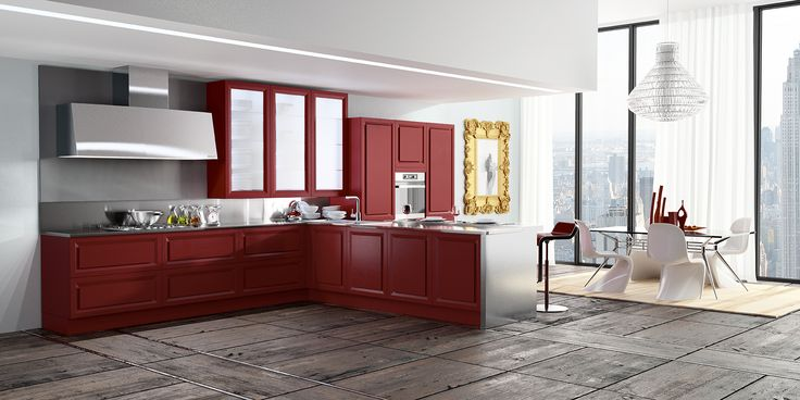 Biefbi Cucine_Diamante: Red oak doors, Glass wall units with oak frame. Steel Worktop / Ante in rovere rosso, pensili con anta vetro e telaio in rovere. Piano di lavoro in Acciaio.