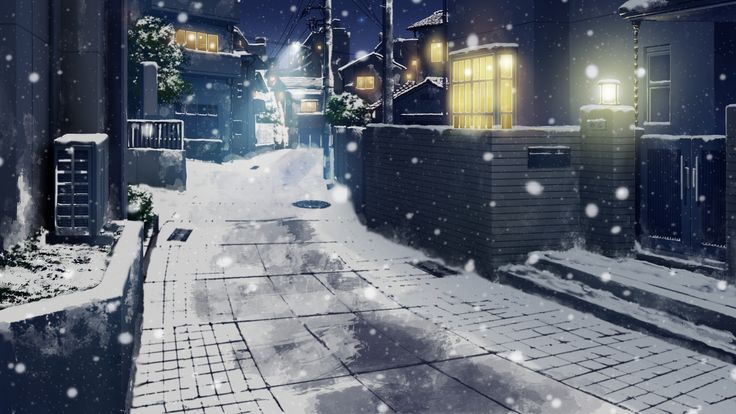 cityscape city snow town anime scenery background