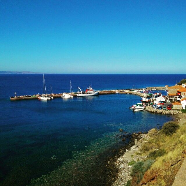 The end of the small harbor of Molyvos (Lesvos, Greece)