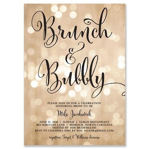 """Mila"" Champagne Bokeh Brunch + Bubbly Bridal Shower Invitation"