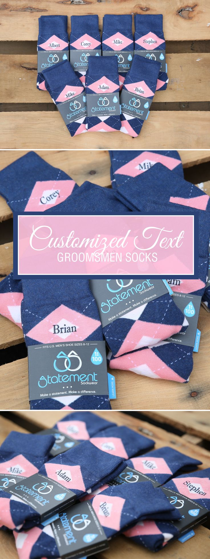This is the timeless classic. Our flamingo blush petal pink and navy groomsmen dress socks are one of our personal favorites. The classy combination of navy and pink offers the perfect accessory to any gray or navy suit. Factor in custom text, dates or monograms, and you've got the ideal groomsman gift for the guys most important to you on your big day. Check out these flamingo blush petal pink navy argyle customized text groomsmen dress socks and more.