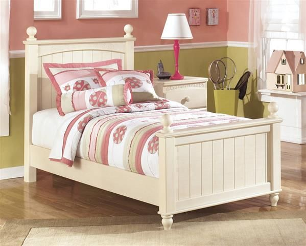 cottage retreat light cream wood twin poster bed