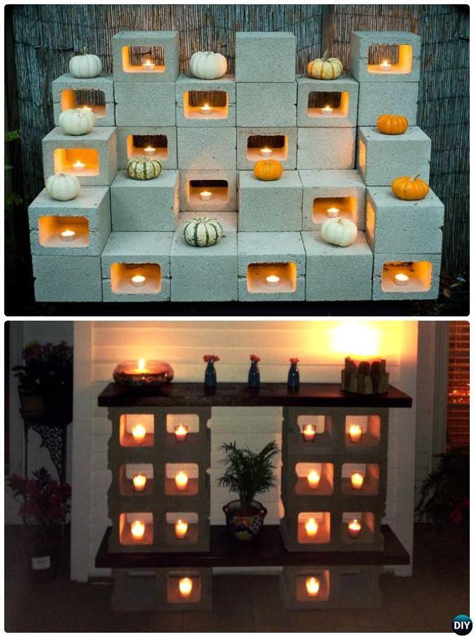 DIY Cinder Block Candle Rack-10 DIY Concrete Block Furniture Projects