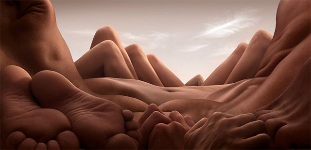 Landscapes Formed From Human Bodies by Carl Warner. See many more at the link:  http://www.thisiscolossal.com/2013/07/carl-warner-bodyscapes