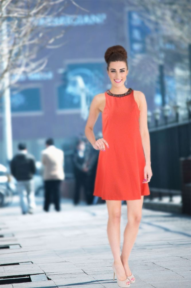Fit and Flare Orange Mini Dress with Beaded Neckline