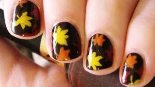Simple Fall Leaves Nail Art, via YouTube from TotallyCoolNails