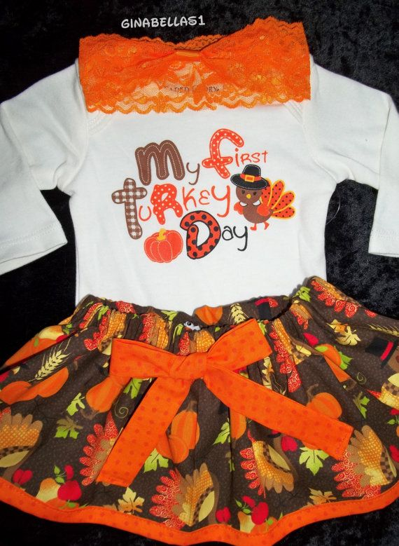 09e718718d65 My First Thanksgiving day baby girl outfit onesie by GinaBellas1, $29.50 |  Hailey's Wardrobe | Girl outfits, Baby, Baby dress