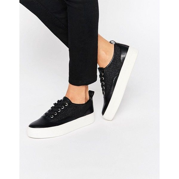 Carvela Jett Flatform Sneakers ($110) ❤ liked on Polyvore featuring shoes, sneakers, black, flatform sneakers, kohl shoes, black lace up sneakers, vegan sneakers and black lace up shoes