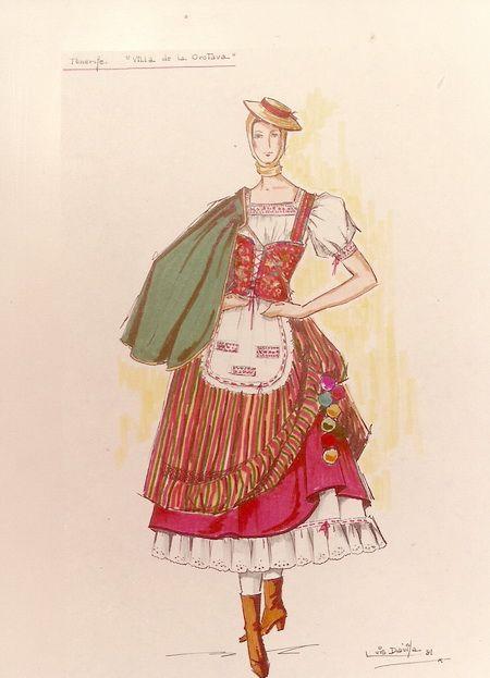 boceto traje típico de La Orotava. Tenerife, Islas Canarias