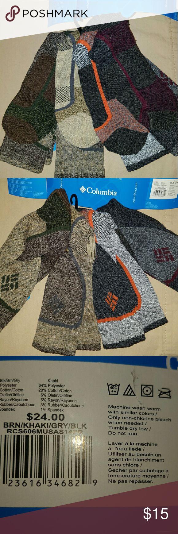 Columbia 4 pack men's socks Men's socks, soft, medium weight comfy socks, great for casual, semi casual or dressy. 1 of each color, total 4 pairs. Men's shoe size 6 - 12, ladies shoe size  8 - 14 Columbia Underwear & Socks Casual Socks