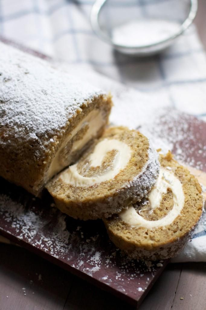 Banana Cake Roll with Caramel Cream Cheese Filling via @Audra Fullerton // The Baker Chick // #banana #dessert
