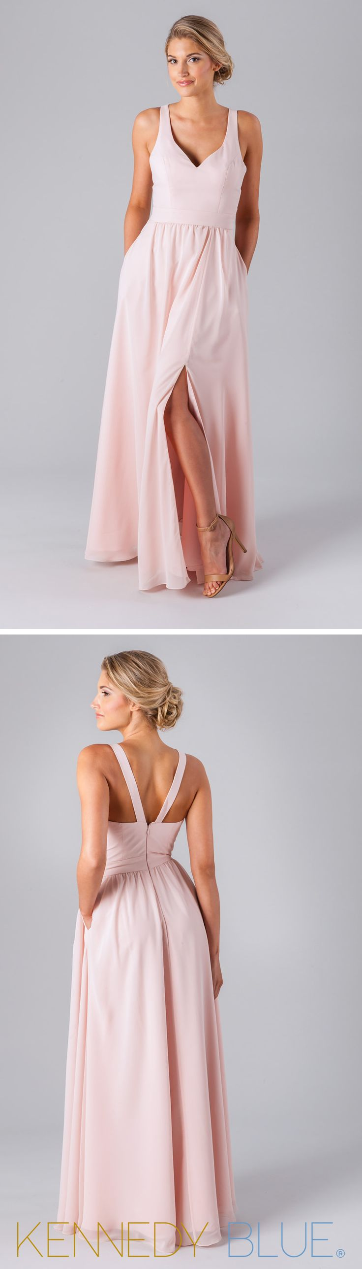Kennedy Blue Riley is a gorgeous V-neck bridesmaid dress made of soft, luxe chiffon fabric.