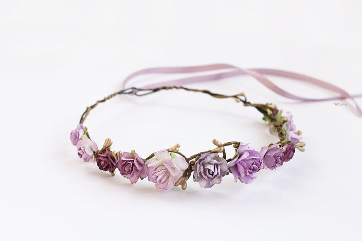 Купить Нежный цветочный венок - брусничный, розовый, грязно-розовый, лиловый, сиреневый, цветочный венок