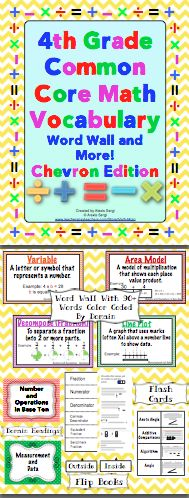 4th Grade Common Core Math Vocabulary Word Wall and More (Chevron Edition): This 150+ page printable packet contains a printable word wall, flash cards, and vocabulary flip booklets! Each word wall card is framed in sunburst chevron border that is color coded by domain. There are also 19 vocabulary flip books that are perfect for interactive math notebooks! $