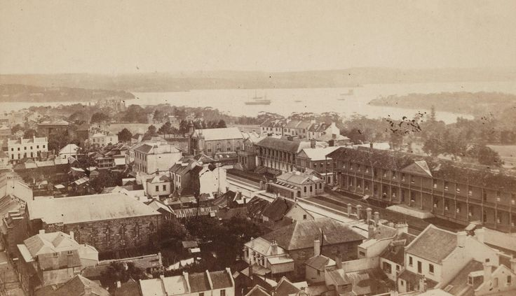 Sydney looking north east across MacQuarie St,Sydney towards Fort Denison in 1871.