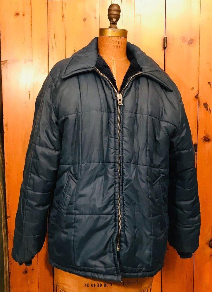 Blue Winter Mechanic Jacket Vintage Woolrich Men's Size
